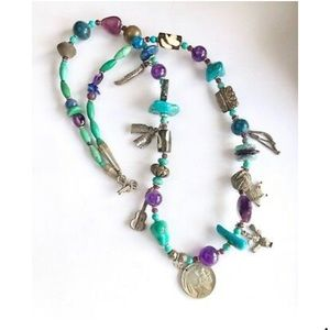 Jewelry - Southwestern Sterling Silver Beaded Charm Necklace